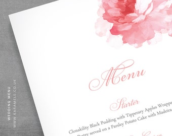 BLUSH PINK Wedding Menu with Peony design - Printable