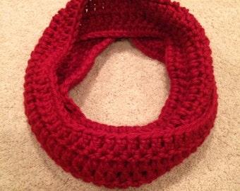 Handmade Crochet Red Infinity Scarf
