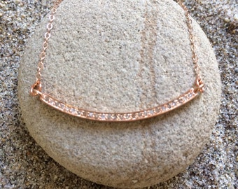 Rose Gold Pave Diamond Bar Necklace
