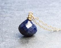 Sapphire Necklace. Blue Sapphire. Pendant Necklace. Gold Necklace. September Birthstone. Petite Jewelry. Gemstone Jewelry