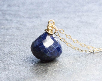 Sapphire Necklace. Blue Sapphire. Pendant Necklace. Gold Necklace. September Birthstone. Petite Jewelry. Gemstone Jewelry