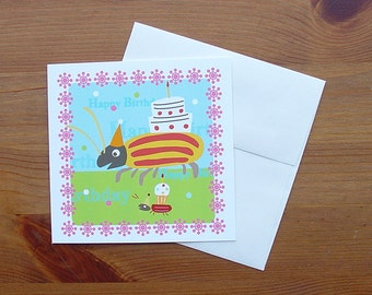 Handmade birthday card, set of four: Bug with Cake