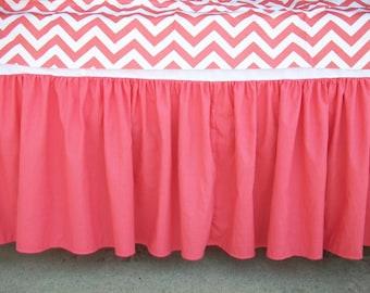 Dark Coral Gathered Crib Skirt Made To Order