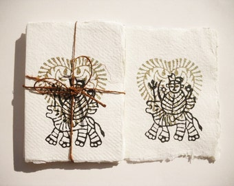 Durga handmade paper card set of 4, boho card, eco friendly card, Goddess card, Hindu deity, eco gift wrapping, indian inspirered style