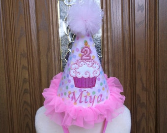 Girls First Birthday Party Hat -- Pink Cupcake Birthday Hat  - Free Personalization