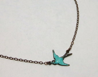 Blue Bird Necklace Bluebird Pendant Teal Verdigris Tiny Bird Shabby Chic Nature Bridal Wedding