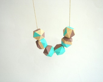 Brown and Blue Geometric Necklace ,Handpainted Wood Geometric Necklace,Geometric Jewelry