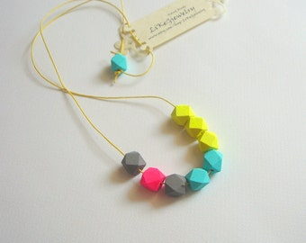 Neon Geometric Necklace ,Wood Geometric Necklace,Geometric Jewelry