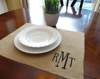 Set of 4 - Initial monogrammed burlap placemats - SET OF  4