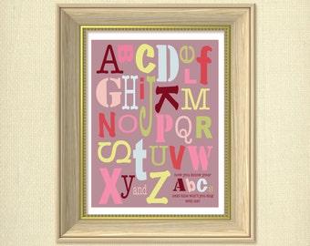 Pink Alphabet ABCs Digital Nursery Art Print
