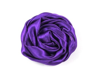 """Purple - Set of 3 Large 3"""" Rolled Satin Flowers - RSF-017"""