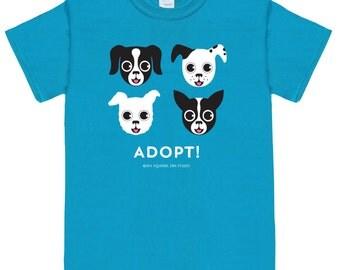 ADOPT DOG on Blue Unisex Traditional Fit Tee Shirt Dog