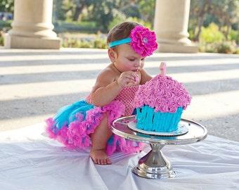 Hot Pink and Turquoise Peonie Flower Headband, Girls Headband, Baby Headband, Photo Prop