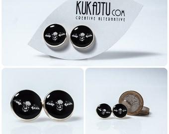 Avenged Sevenfold Stud Earrings A7X Jewelry Earrings Black and White Stud Earrings Posts