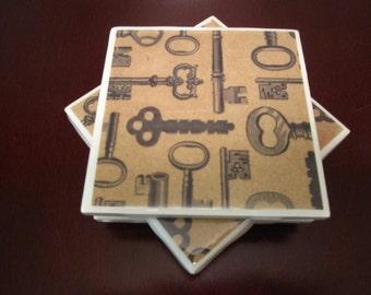 Ceramic Tile Coaster Set: Vintage Keys (Set of 4)/Key coasters/vintage keys