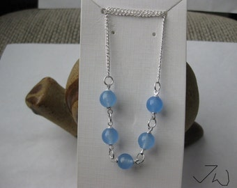 5 Blue Crystal Beads Necklace