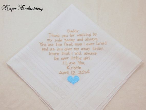 Wedding Gift for Father of the Bride Personalized Handkerchief ...