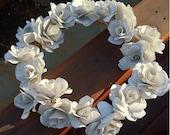 Book-paper flower wreath