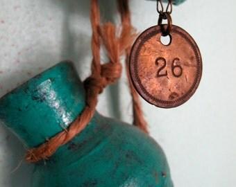 vintage brass locker tag necklace