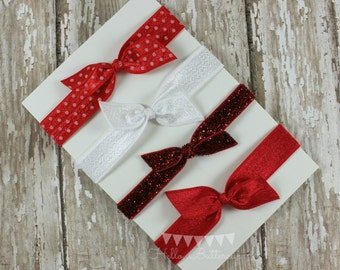 4 No Tug Elastic Hair Ties - Red and White Hair Ties - Glitter hair tie set - Red Ponytail Holder
