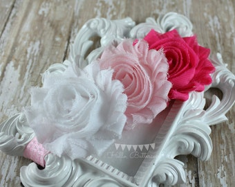 Ombre Pink Shabby Chic Headband, Pink and white flower headband, Bridal Flower Girl Headband
