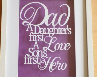 Gorgeous 'dad' quote papercut in a shadow box frame