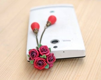 Cell phone dust plug, phone accessories, handmade phone charm, polymer flower
