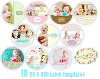 CD/DVD Label Templates, Happy Theme Set of 10 -Photoshop Templates -CPZ078-