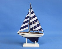 "Blue Striped Pacific Sailer 9"" Sailboat Wedding Cake Topper / Sail Boat Cake Toppers / Nautical Cake Toppers / Nautical Wedding Decor"
