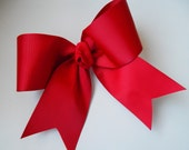 "Plain Red Cheer Bow 3"" Wide Ribbon Stiff and Big Bows Solid Red Cheer Bow 8"" Wide Cheer Tryouts Cheer Ribbon"