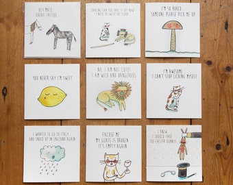 Collection of 9 cute greeting cards