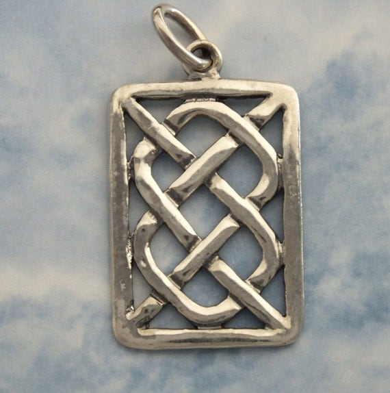 Celtic Knot Rectangular Pendant Sterling by EmpressMeJewelry
