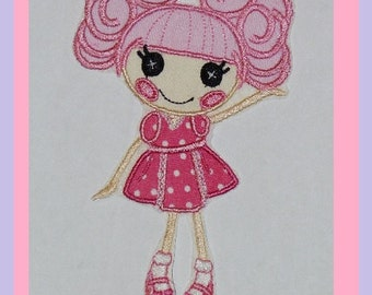 Curly Top Applique Rag Doll Embroidery Design -- 3 sizes -- INSTANT DOWNLOAD