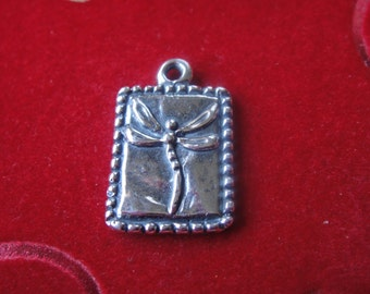 925 sterling silver oxidized dragonfly charm, silver charm with dragonfly,silver dragonfly