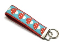 Mushroom key fob, mushroom keychain, wrist keychain, keys wristlet, red aqua key fob, under 10 gift, novelty key chain, mushroom accessory