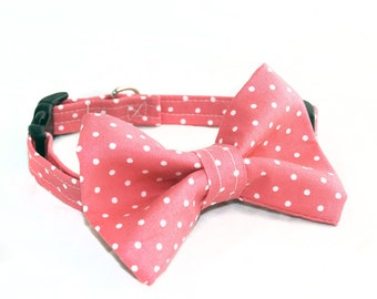 Rose and White Polka Dot Print Fabric Pet Collar and Bow Set