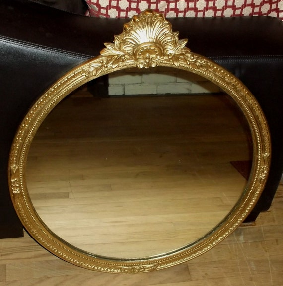 Large Round Antique Victorian Gold Ornate Wall Mirror