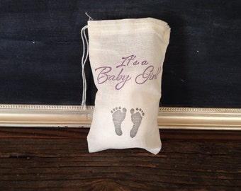 Its a Baby Girl Footprint Favor Bag Baby Shower Stamped Muslin Cotton Bag Party Gift Rustic Theme Set of 10