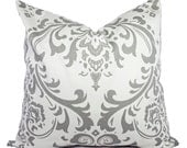 Two Damask Decorative Throw Pillow Covers - Grey and White Pillow Covers - Grey Throw Pillow - Cushion Cover Accent Pillow