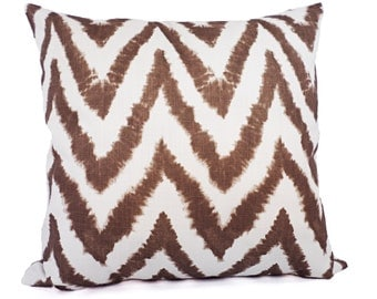 Two Brown Pillow Covers - Chevron Brown Throw Pillow Covers - Decorative Pillow - Brown Pillows 12x16 12x18 14x14 16x16 18x18 20x20