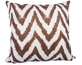 Two Brown Pillow Covers - Chevron Brown Throw Pillow Covers - Decorative Pillow Cushion Cover Brown Pillows Accent Pillow