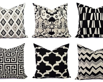 Two Black Throw Pillow Covers -Black and Beige Pillows - 20 x 20 Inch Black Cream Pillow Cover Cushion Cover Pillow - Black Throw Pillows