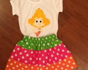 Bubble guppies birthday outfit top skirt 6 12 18 2 3 4 5