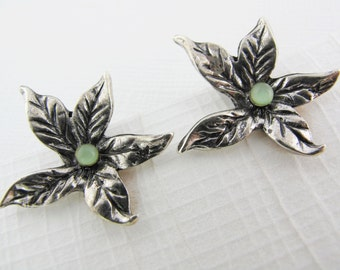 Clearance - Vintage Silvery With Green Botanical Style Earrings, Leafy Petals With Green Earrings