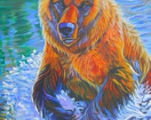 Salmon Run Grizzly Run painting art river stream