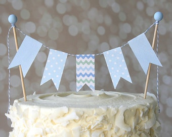 Baby Blue Wave/Polka Dot Birthday Shower Cake Bunting Pennant Flag Cake Topper-MANY Colors to Choose From!  Birthday, Shower Cake Topper