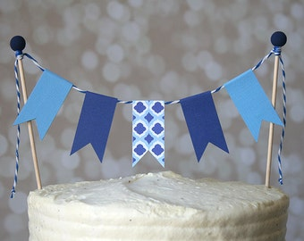 Blue Tile Greece Birthday Cake Bunting Pennant Flag Cake Topper-MANY Colors to Choose From!  Birthday, Shower Cake Topper