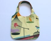 Tote bag bird cage, yellow cotton bag with retro bird print, bird cage print