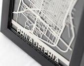 "Philadelphia Stainless Steel Laser Cut Map - 5x7"" Framed | Wall Art"