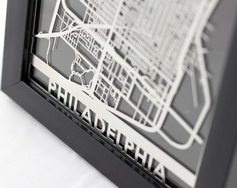 "Philadelphia Stainless Steel Laser Cut Map - 5x7"" Framed 